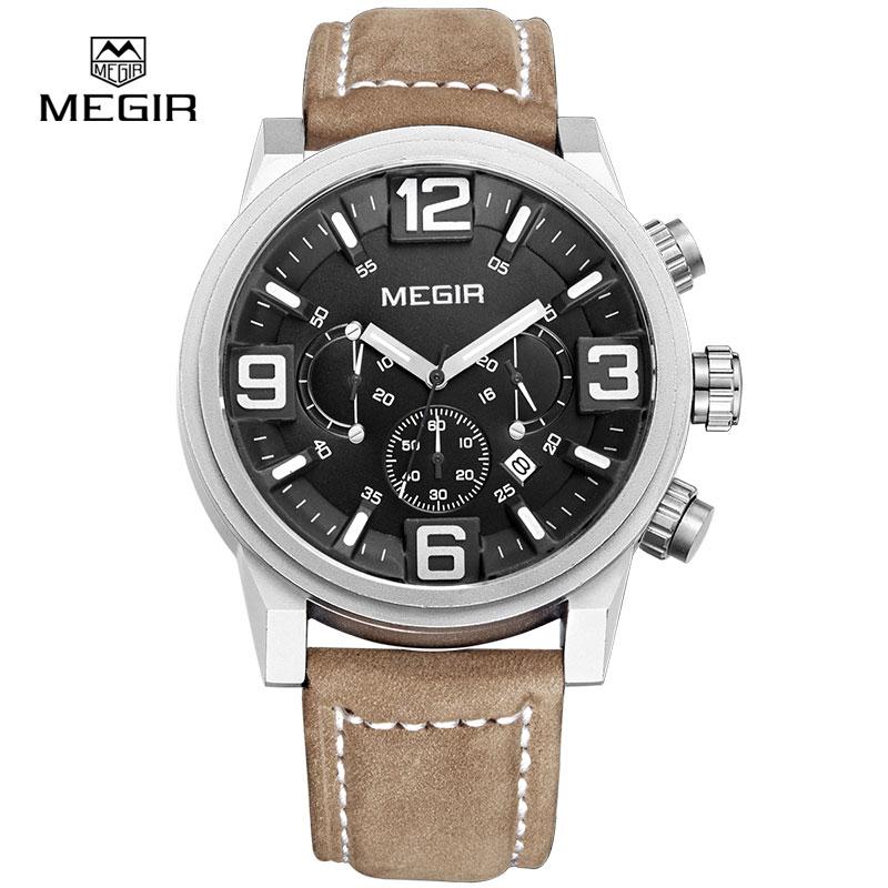 Prix pour Megir marque de luxe montre de sport hommes montres à quartz chronographe grand cadran horloge en cuir soldat montre-bracelet masculino