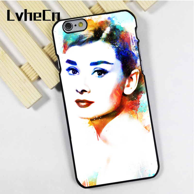 LvheCn phone case cover fit for iPhone 4 4s 5 5s 5c SE 6 6s 7 8 plus X ipod touch 4 5 6 back skins Audrey Hepburn Painted Art