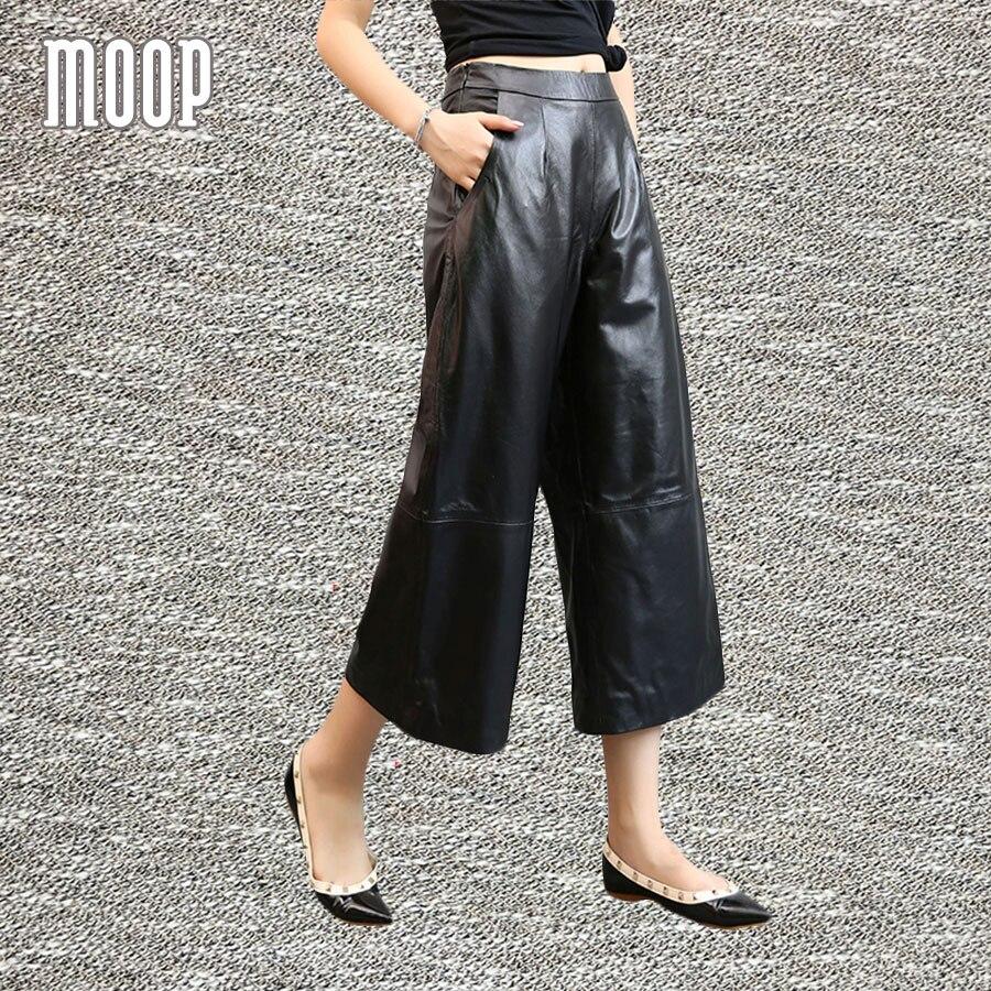 Black genuine leather   pants   100% lambskin   wide     leg     pants   leather trousers pantalon femme pantalones mujer LT858 FREE SHIPPING