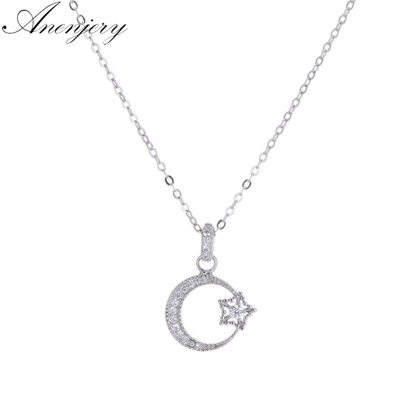 Sterling Silver Necklace w// CZ Stones Star /& Moon Pendant