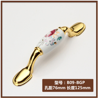 Length 125m Hole Pitch 76mm Zinc alloy golden color Modern handle cabinet ceramic handle drawer pulls tulip Flower print