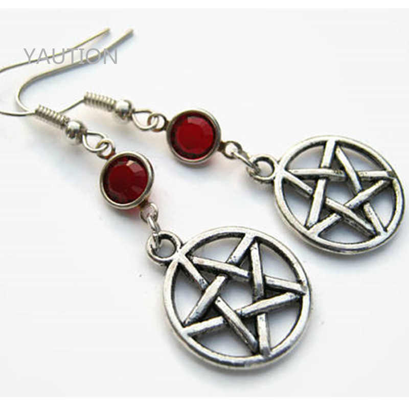1 Pair Anting Pentacle Kelahiran, Anting pribadi, Pagan Anting, penyihir Anting