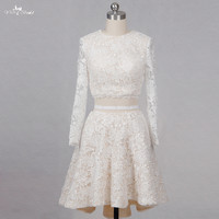 RSW1260 Long Sleeve Champagne Short Wedding Dresses Crop Top Vestido De Noiva 2 Em 1