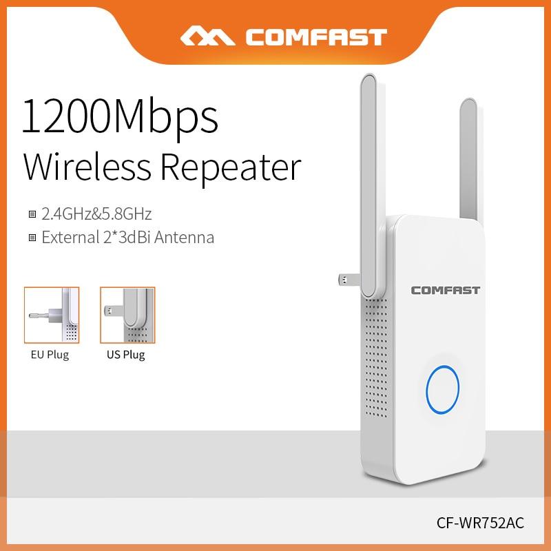Comfast casa wifi repetidor de alta velocidade 1200 amplificador extensor alcance sem fio 2.4g & 5 ghz wifi impulsionador 2 * 3dbi antena CF-WR752AC