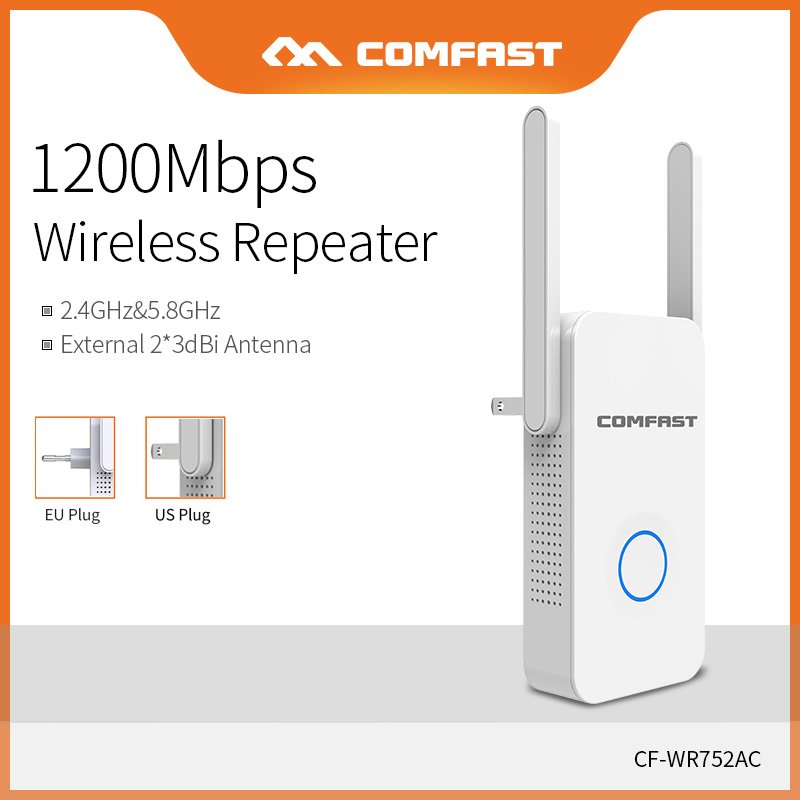 Comfast Home Wifi Repeater High Speed 1200 Wireless Range Extender Amplifier 2.4G&5Ghz Wifi Booster 2*3dbi Antenna CF-WR752AC