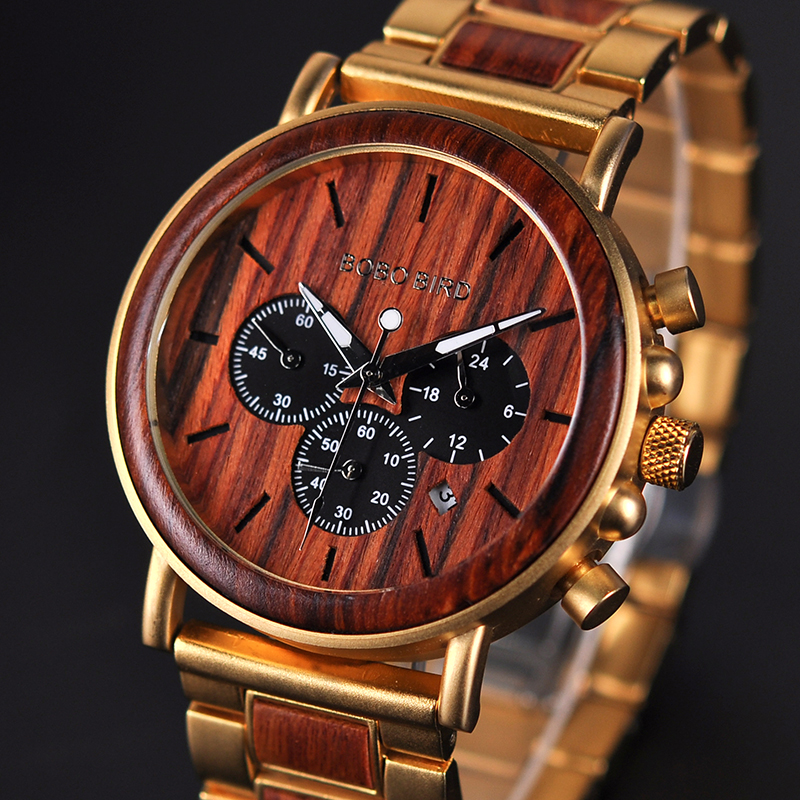 Gold Watch Display Wooden Bobo Bird Men Luxury Brand Stop Date Reloj