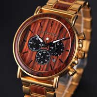 BOBO VOGEL Gold Uhr Männer Luxus Marke Holz Armbanduhren Datum Display Stop Uhren reloj goldene stunde