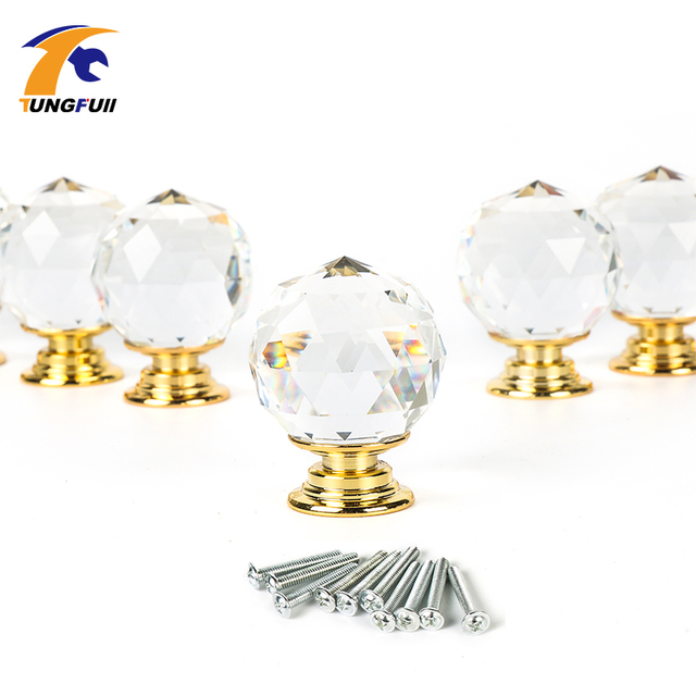 10pcs/set Clear Crystal Glass Door Knobs Diamond Drawer Cabinet Wardrobe  Pull Handle Knobs Furniture