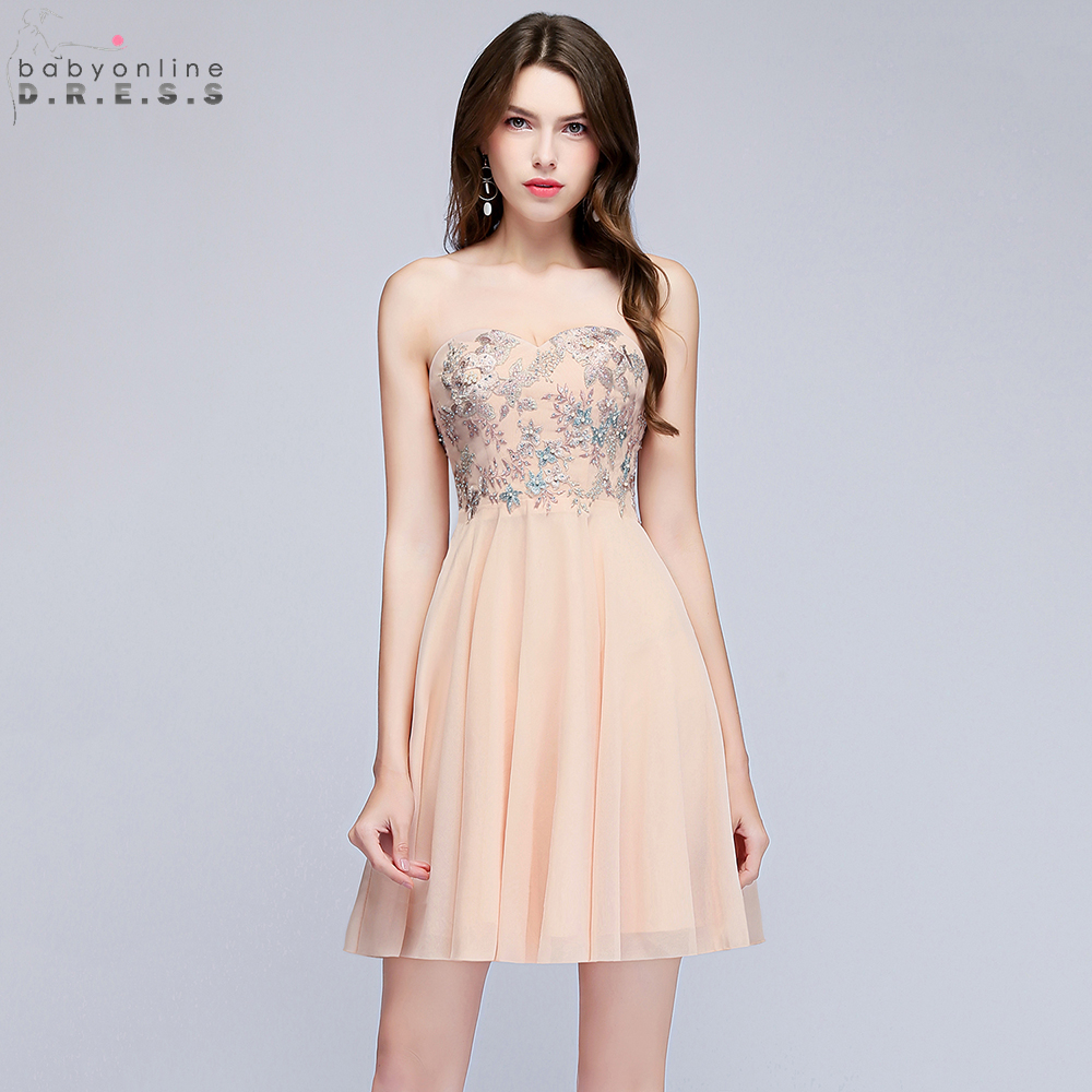 Babyonline Off Shoulder Sweetheart   Cocktail     Dresses   2019 Sexy Party   Dress   Embroidery Pearls Mini   Dress   vestido   cocktail