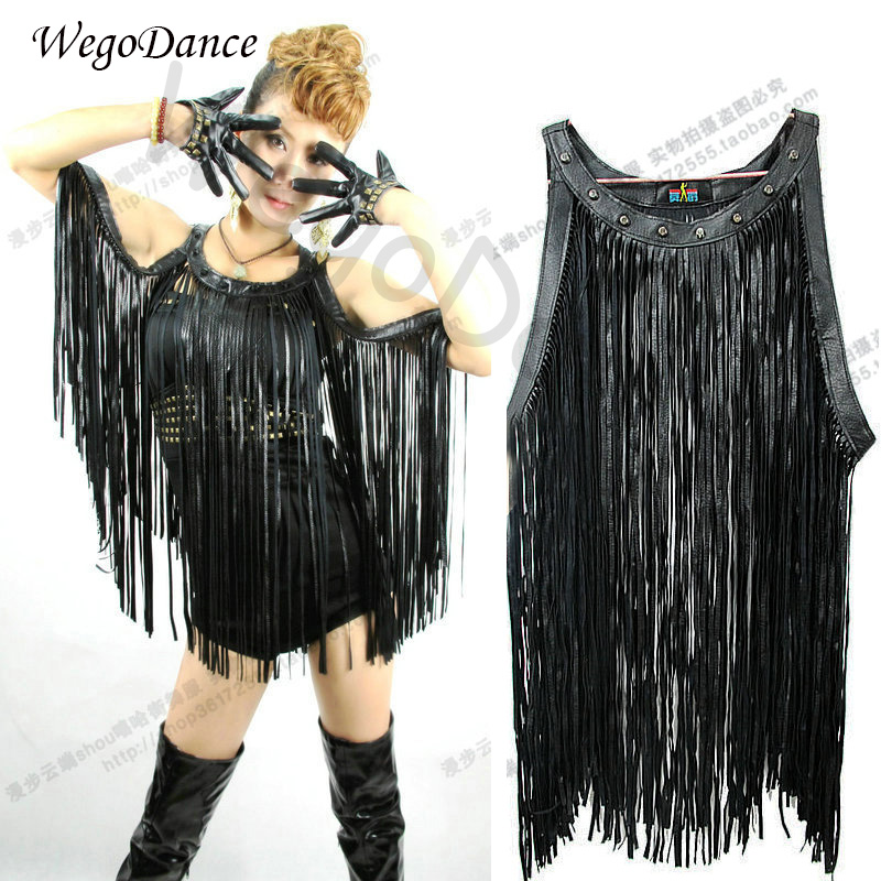 Singer Nightclub DJ Pu Leather Long Tassel Vest Jazz Stage Outfit Ds Performance Lead Dance Clothing Women