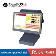 High Qualtiy Dual 15.6″ POS Touch System Seamless POS System POS1516D With VFD Customer Display