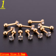 10pcs Golden Zircon Crystal Heart Round Ball Tongue Lip Bar Ring Stainless Steel Barbell Ear Stud Body Piercing Jewelry(China)