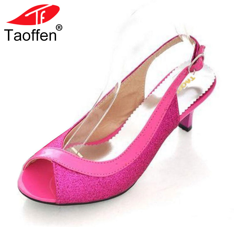 TAOFFEN Women Peep Open Toe High Heel Sandals Ladies Thin Heels Party Shoes Woman Back Strap Heeled Footwear Size 30-46 PA00328 taoffen women high heel sandals open toe pleated concise slippers solid color shoes women footwear summer party size 34 39