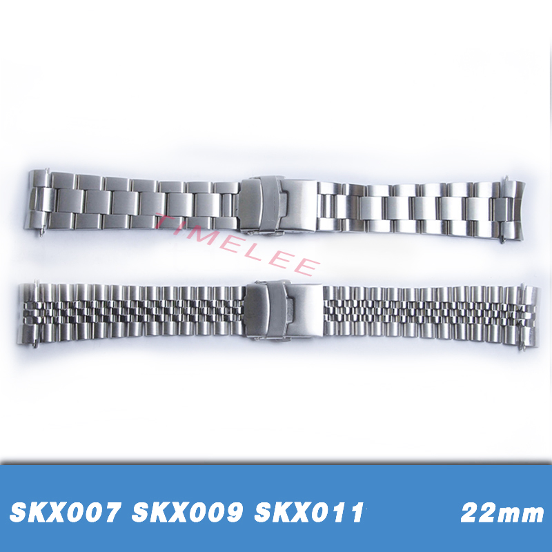 Bracelets Watch-Band Curved-End-Replacement Seiko Skx007 Stainless-Steel SKX011 22-Mm