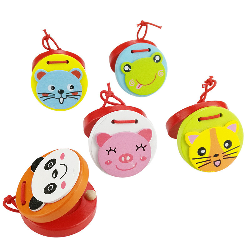 Children's wooden castanets children's music percussion cartoon animal pattern early education baby hand toys children's gifts