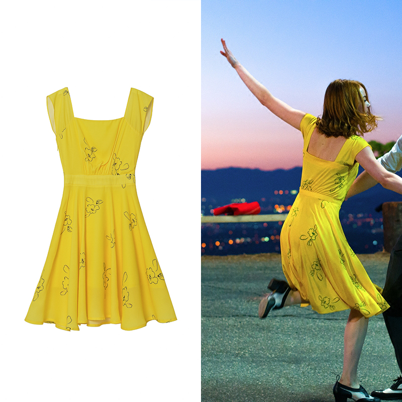 2017 la la land emma stone mia cosplay yellow elegant ladies beauty women long party dresses - Partyland Halloween Costumes