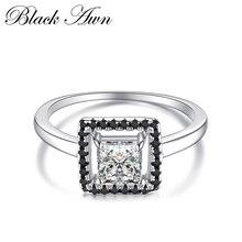 Anillos de compromiso para Mujer joyería de 100% Plata de Ley 925 auténtica piedra negra y blanca Bijoux Bague C221