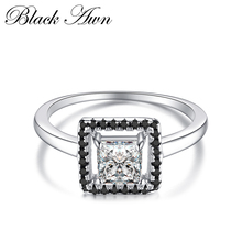 Anillos mujer anéis de noivado para mulher genuína 100% 925 prata esterlina jóias preto & branco pedra quadrado bijoux bague c221