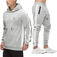 men tracksuit cotton spring sporting suits hoodie sweatshirt & sweatpants bodybuilding sweat suit joggers set