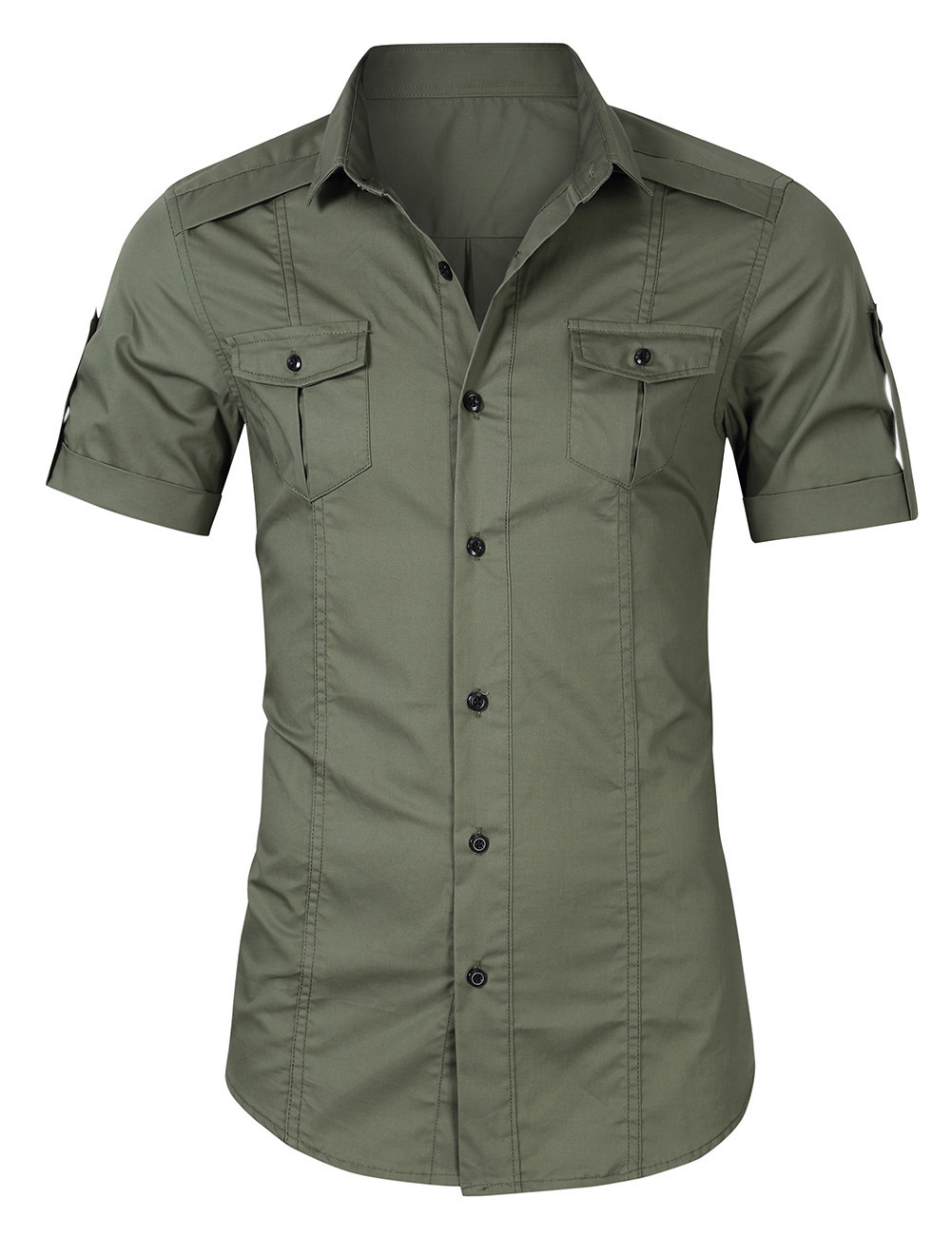 Summer Loose Short Sleeve Casual Shirt Slim Fit Boys Overalls Safari Shirt Fashion Cotton Military Green Social Oversized Tops
