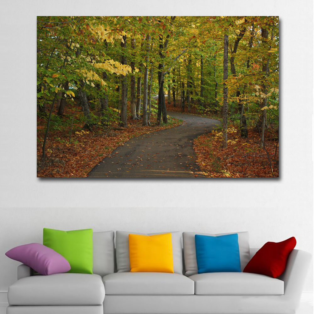 Hd prints canada parks autumn roads landscape oil painting wall art painting printed on canvas prints posters modular painting