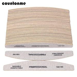 Image 1 - 100 pièces lime à ongles en papier de verre en bois 100/180 tampon de manucure professionnel gris bateau pédicure Double face tampons en bois fournitures pour ongles