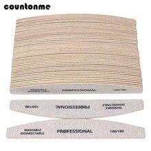 100 piezas lima de uñas de papel de lija de madera 100/180 profesional de manicura Buffer gris barco pedicura de doble cara pulidor de madera suministro de uñas