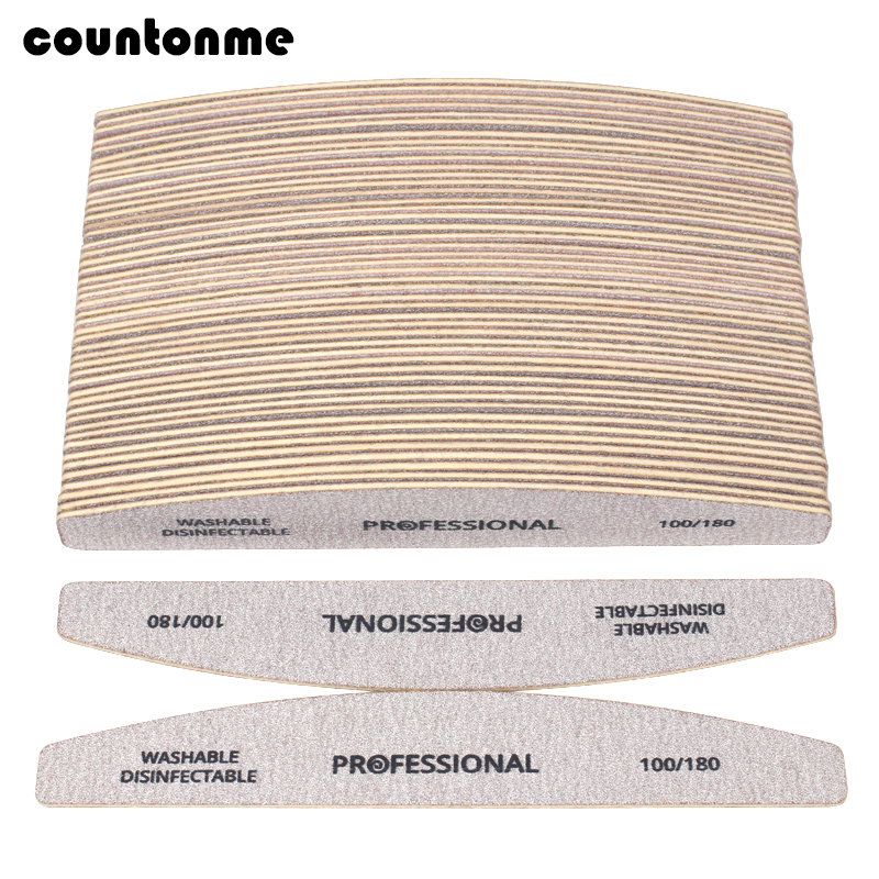 100pcs Wooden Sandpaper Nail File 100/180 Professional Manicure Buffer Grey Boat Pedicure Double-sided Wood Buffers Nail Supply