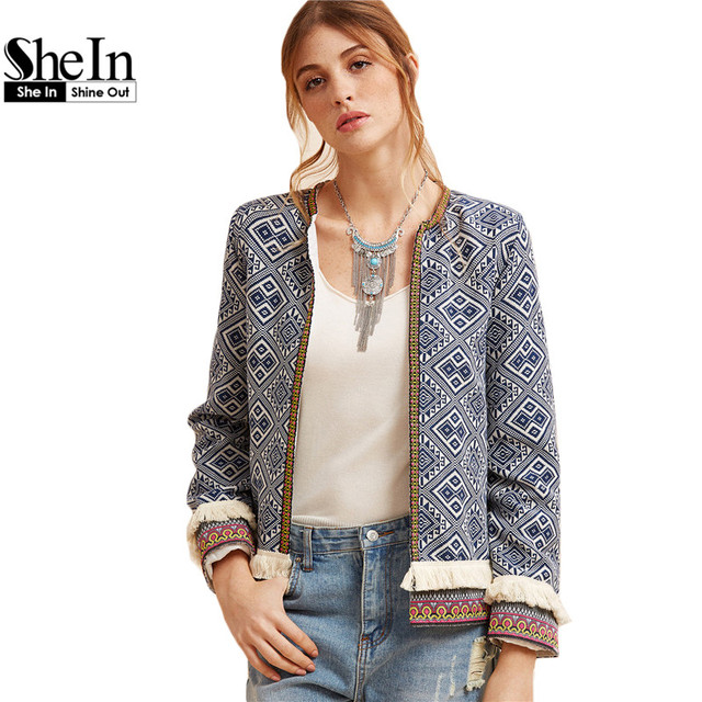 e32006d7e4 SheIn Autumn Vintage Short Jackets For Women Blue Collarless Long Sleeve  Fringe Trim Tribal Jacket With