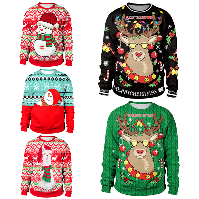 2018 Ugly Christmas Sweater Santa Claus Printed Loose Sweater Men Women Pullover Christmas Novelty Autumn Winter Tops Clothing