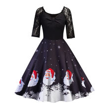 Fashion Female Elegant Sweet Dresses Christmas Women Half Sleeve Lace Patchwork Printing Vintage Gown Party Dress Sexy Vestidos(China)