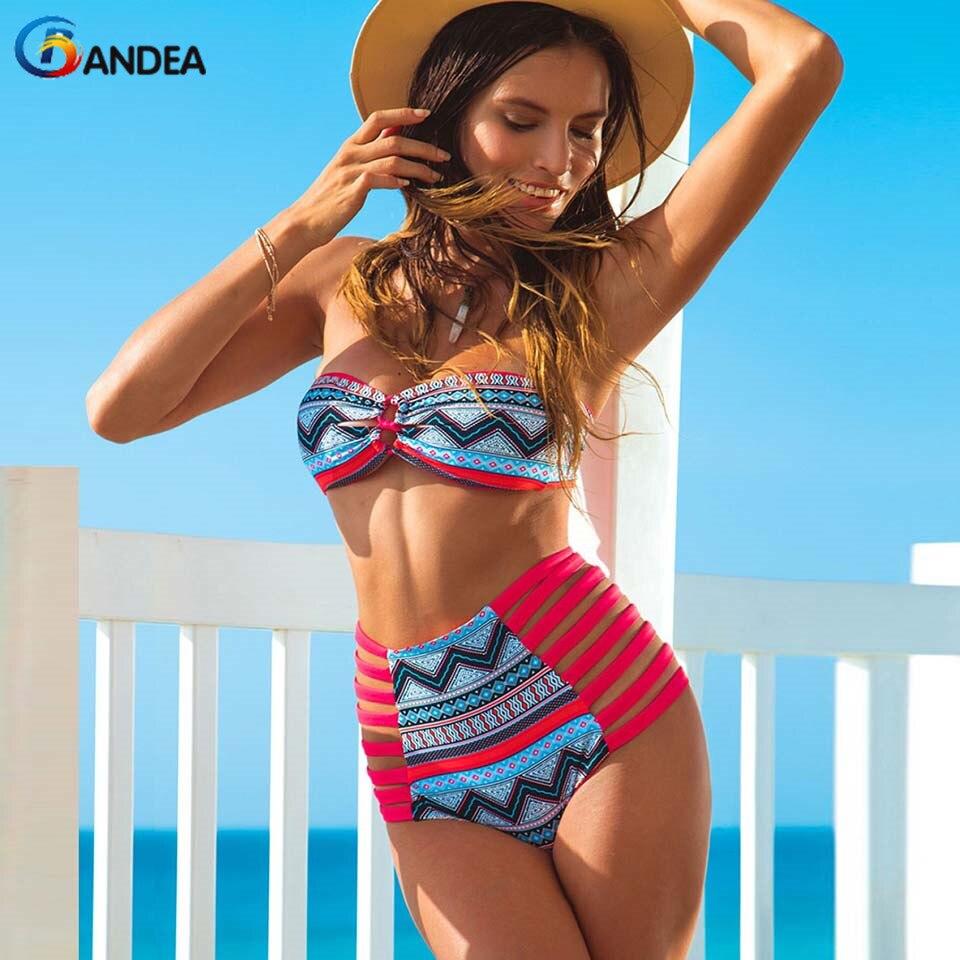 BANDEA cintura alta bikini traje de baño atractivo de las mujeres de la vendimia