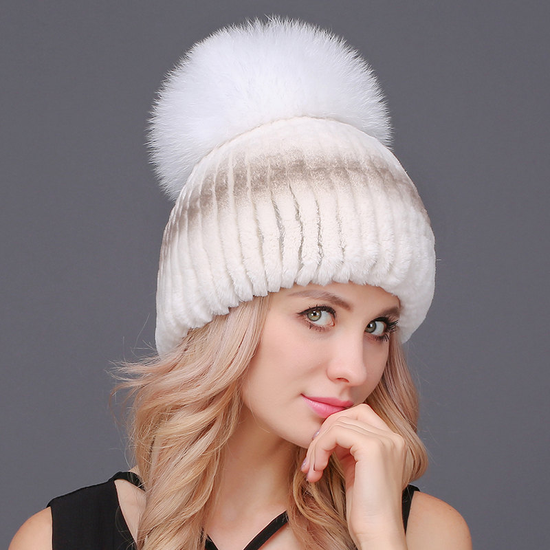 Maylooks Luxury Women Rabbit Fur Hats Fashion Winter Beanies Female Knitted Warm Caps For Russia Women Outwear Ladies Headgear velvet thick keep warm winter hat for women rabbit fur knitted beanies ladies female fashion skullies elegant hats for women