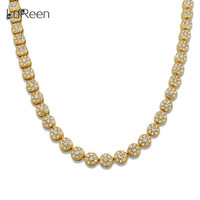LuReen Hiphop 10mm Hiphop Round Shape Men Necklace Chain Bling Iced Out Tennis Gold Chian Necklace