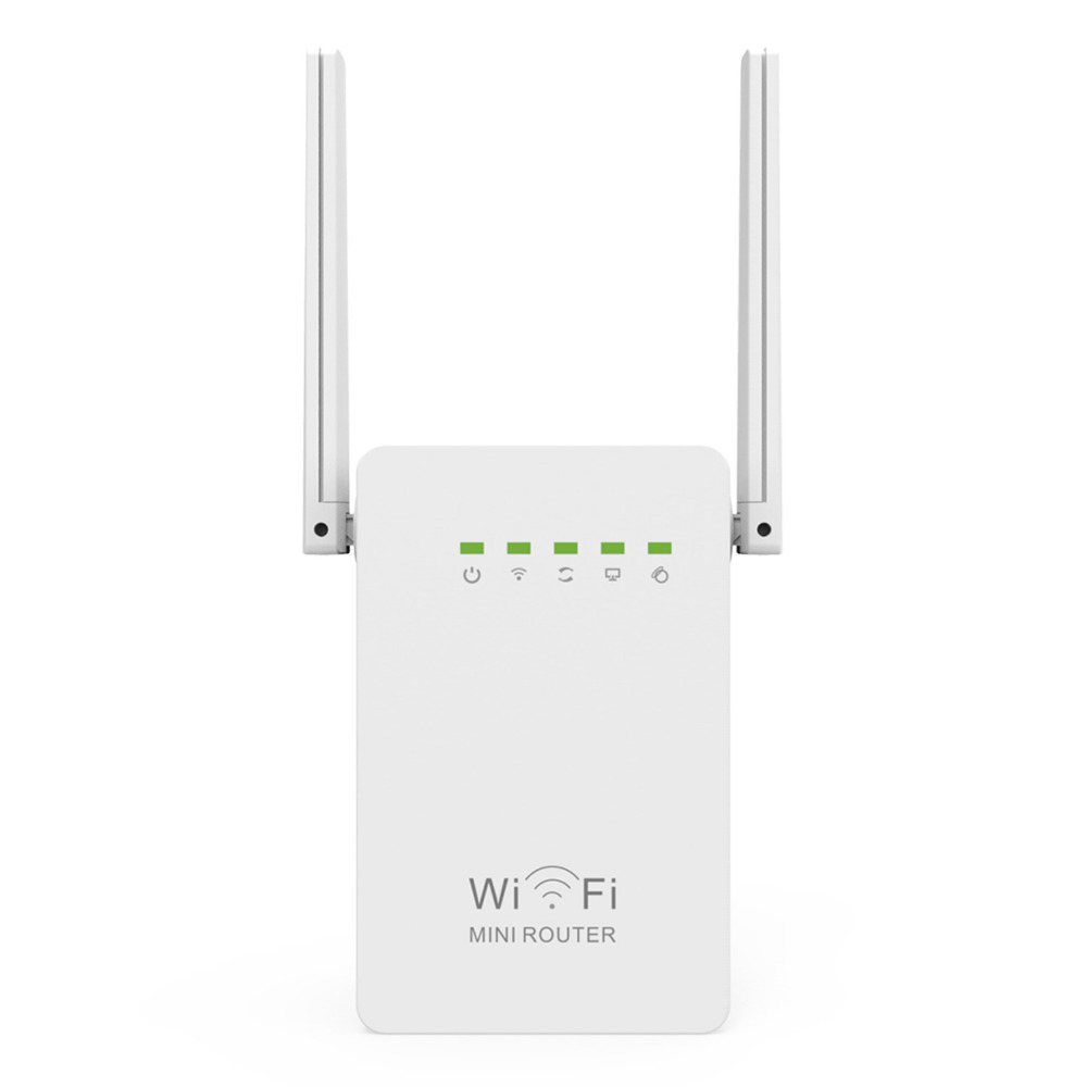 300Mbps Mini Router WiFi Repeater Amplificador de alcance de red Amplificador N300 Wi-Fi de aumento simple Antenas externas dobles Enchufe de EU / US / UK