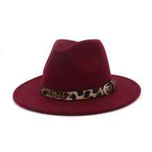 Vintage Leopard Fedora Cap for Women Men Wide Brim Fedora Hats Ladies Gentlemen Jazz Red Fascinator Church Hats Girls Casual 039