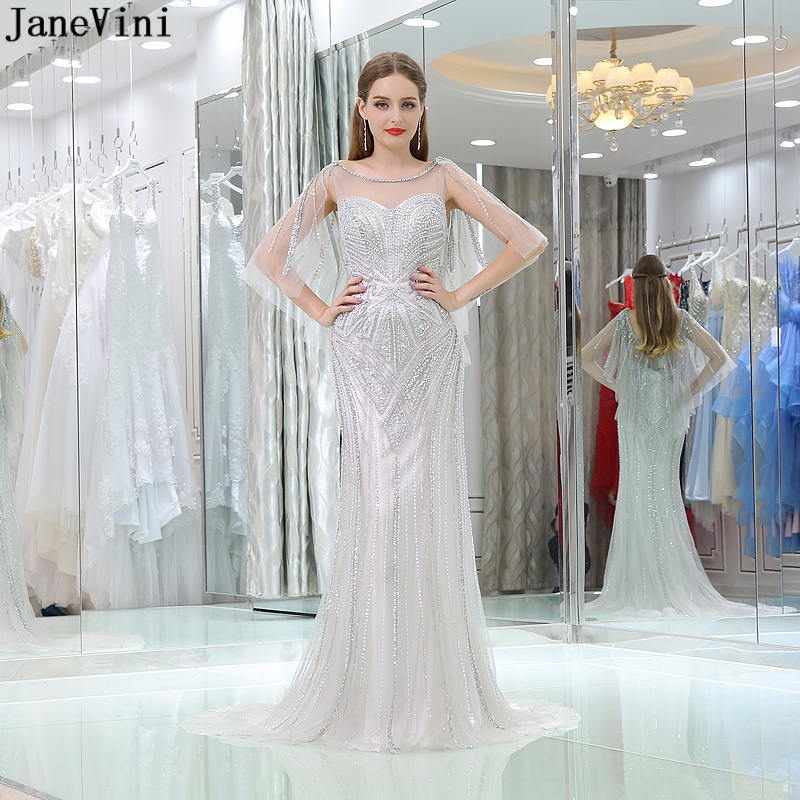 0feb4f207608 JaneVini Elegant Arabic Long Bridesmaid Dresses 2019 Luxury Mermaid Heavy  Beading Backless Women African Wedding Guest Dresses-in Bridesmaid Dresses  from ...