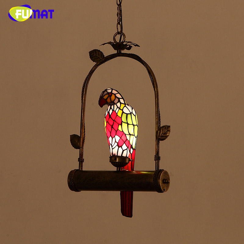 FUMAT Stained Glass Parrot Light Creative Parrot Lampshade Lamp For Kitchen Living Room LED Vintage Glass Shade Pendant Lamps fumat stained glass pendant lamps european style baroque lights for living room bedroom creative art shade led pendant lamp