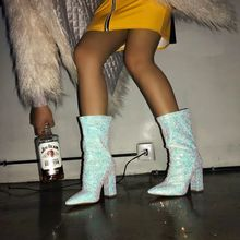 2019 New Women's Shoes Sexy Silver Sequins Pointed Thick with The Boots High Heel Pumps Zip Girl Luxury Shoes Women Designers свитшот the new designers the new designers th020embggl8