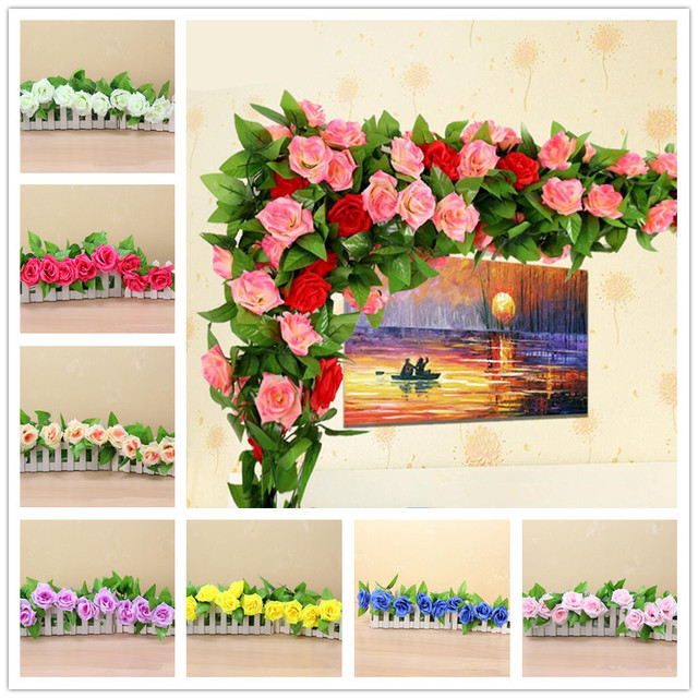 Artificial flowers rose silk flowers vine wedding decoration diy artificial flowers rose silk flowers vine wedding decoration diy fake hanging flower garland wreaths party home junglespirit Image collections