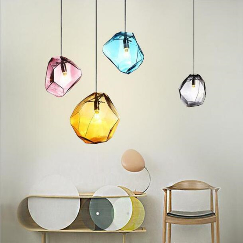 Modern Multicolored Glass Crystal Pendant Lamp Art Diamond Design Dining Room Study Led Hanging Light Fixtures Free Shipping