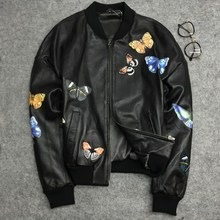 Women spring autumn embroidery baseball jackets coat Chic slim fit real leather bomber D947