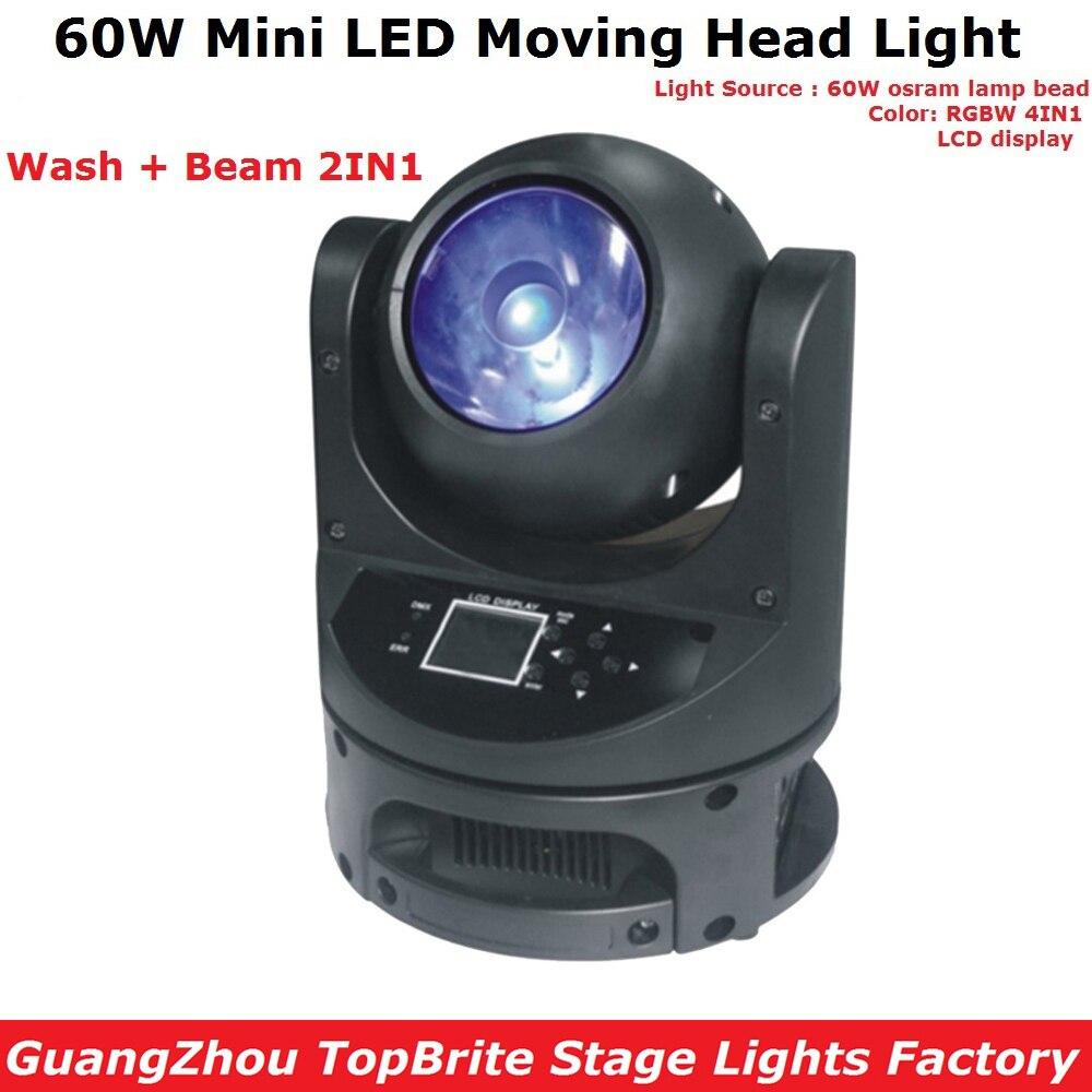 60W Mini LED Moving Head Beam Light DMX Dj Disco Christmas Stage Effect Fixture 60W RGBW Quad Color LED Moving Head Wash Light