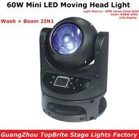 60W Mini Moving Head LED Feixe de Luz DMX Dj Disco de Natal Stage Efeito de Fixação 60W RGBW Quad Cor LED Moving Head Wash Luz