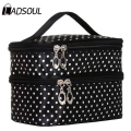 Ladsoul Fashion Double Layers Cosmetic Bag Women Makeup Storage Bag Multifunctional Wash Bags Beauty Portable Travel Bag HL7368
