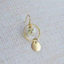 a Pair Limonium Real Flower Glass Ball Round Copper Drop Earrings For Women Vintage Fashion Jewelry Korean Bohemian Cute Love недорго, оригинальная цена
