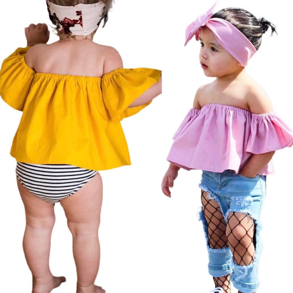 134cff6e2 Kids' Clothing, Shoes & Accs 2Pcs Toddler Baby Girls Summer Off Shoulder T-Shirt  Tops Headband Outfits Set ...