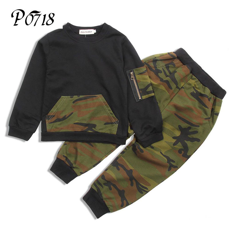 Fashion Camouflage Kids Boy Clothes Set 2018 Spring Autumn Toddler Clothes 2 pcs Long Sleeve T shirt + Pants Sports Leisure Suit free shipping baby clothing set boy spring fall set boy leisure suit long sleeve t shirt pants 100