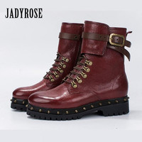 Jady Rose 2019 New Rivets Studded Women Ankle Boots Punk Style Lace Up Autumn Winter High Boots Female Platform Botas Mujer