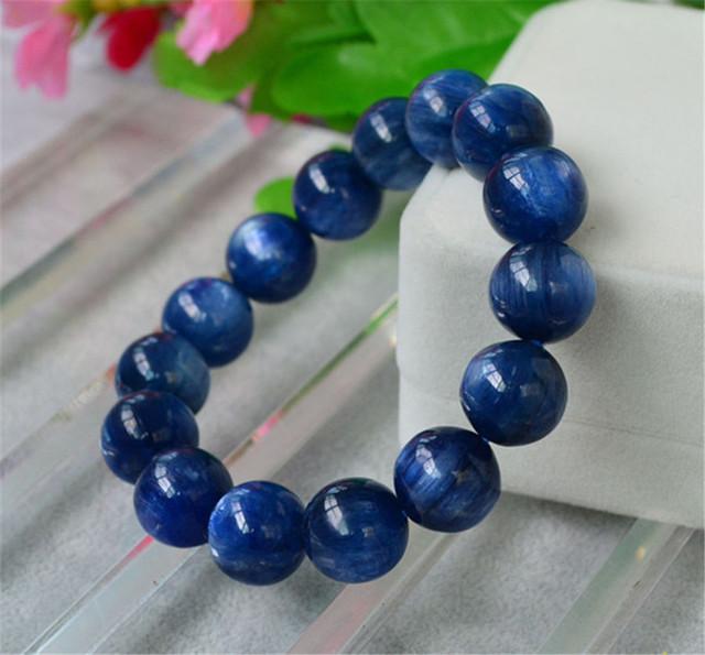 16mm Grande Poderoso Naturais Genuíno Azul Kyanite Gemas de Cristal Redonda Bead Bracelet Para As Mulheres E Homens Pulseira Trecho